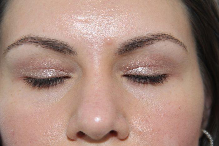 Close up of Metallic Dusty Rose on my eyes