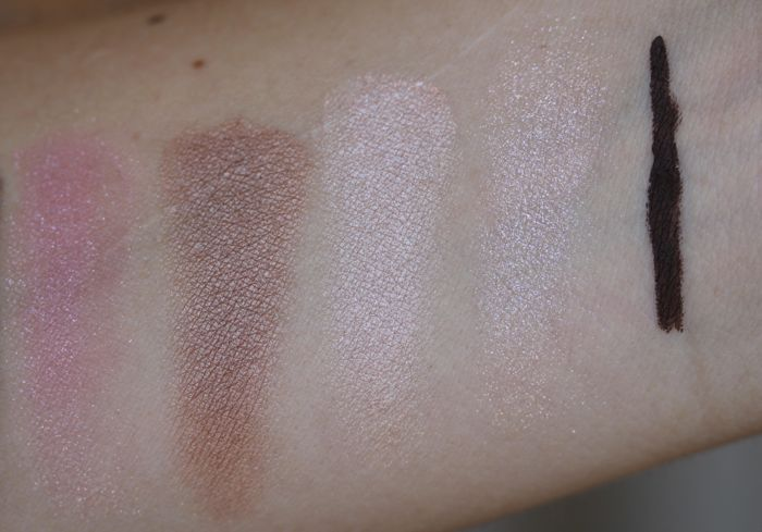 eyeshadow swatches continued (from left to right): Pink Chiffon, Brown Sugar, Pink Quartz, Ballet Pink & Chocolate (eye pencil)