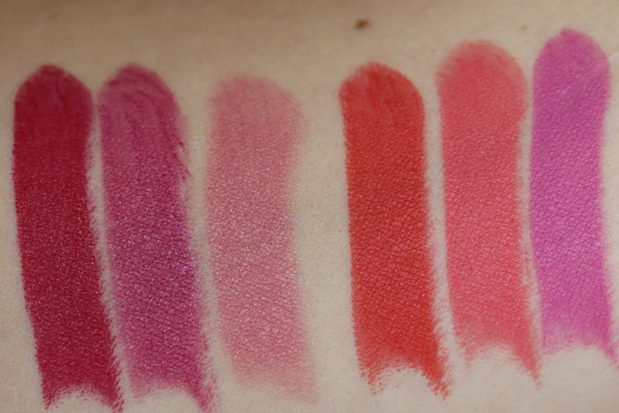 Swatches from left to Right: Miss Hannah, Miss Georgina, Miss Brooklyn, Miss Claire, Miss Sally and Miss Sanja