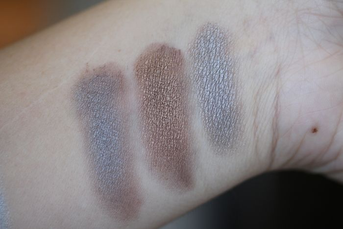 Layered swatches from left to right: Turquoise over Taupe, Bronze over Taupe and Turquoise over Bronze