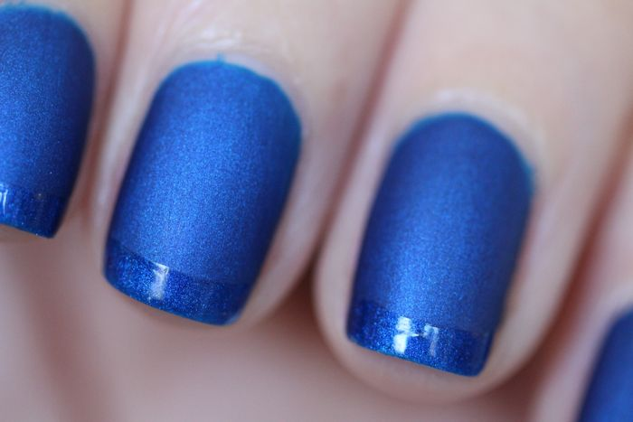 Essie's Aruba Blue with Butter London's Matte Top Coat