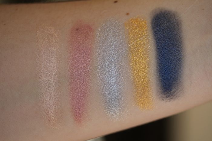 Swatches from left to right: Barely Branded, Inked in Pink, Silver Strike, Gold Rush and Electric Blue