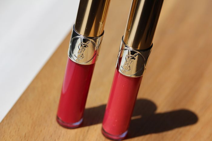 YSL Gloss Volupte in 206 Fuchsia Oran (left) and 15 Grenade Pepite (right)