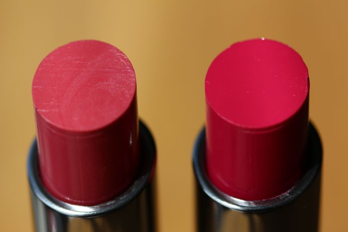 Huggable Lipcolour shades in Out for Passion (left) and Feeling Amorous (right)