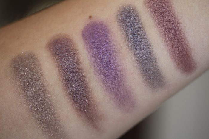 Comparison swatches from left to right: Chanel's Illusoire, Chanel's Diapason, Estee Lauder's Electric Orchard, Armani's Eyes to Kill in shade no. 3 and Le Metier de Beaute's Tapestry (from their Silk Road quad)