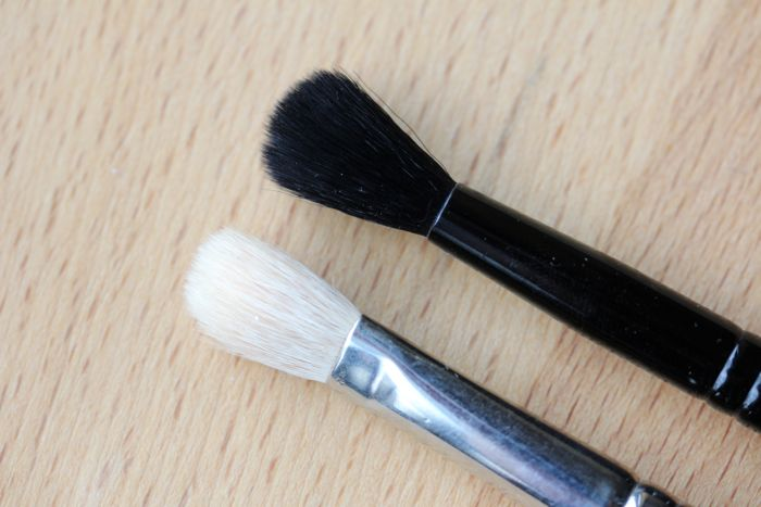 Side by side comparison: MAC's 217 (bottom) and Illamasqua's Blending Brush (top)
