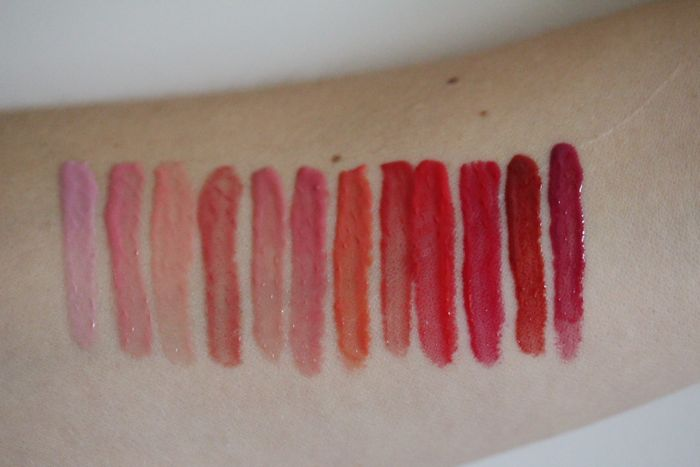 Swatches of the Deconstructed Rose Lip Gloss Library (without flash)