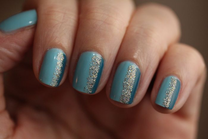 Wearing CND's Vinylux in Azure Wish (light blue), Blue Rapture (teal blue) and Butter London's Fairy Cake (sparkly centre)