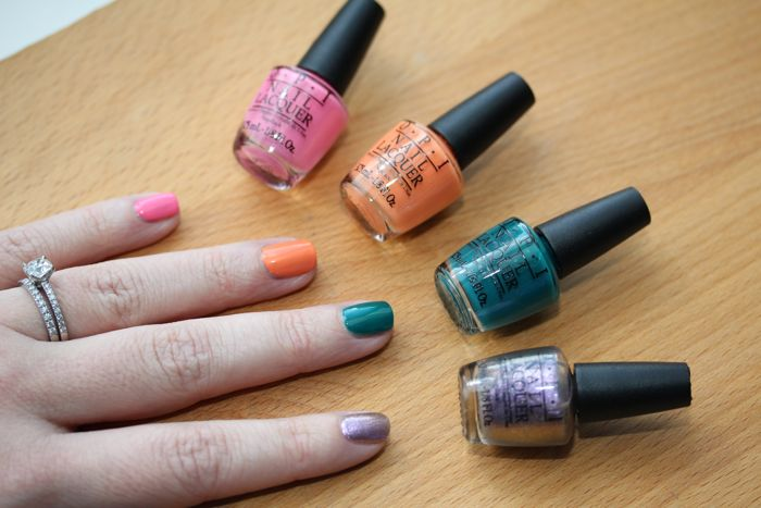 OPI's Brazil Collection featuring four Copacababies (from left to right): Kiss Me I'm Brazilian, Where Did Suzi's Man-go?, AmazOn...AmazOFF and Next Stop...The Bikini Zone