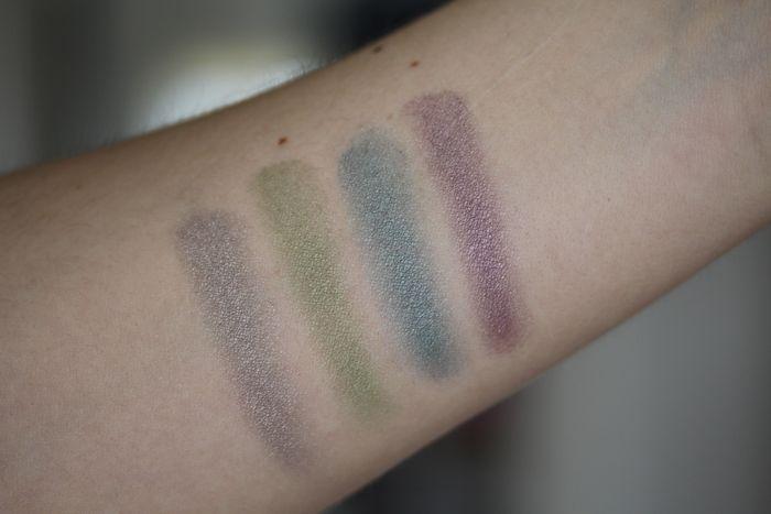 Cream Eye Colors swatches from left to right in Glacier Gray, Meadow Grass, Coastal Blue and Violet Storm