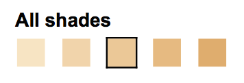 Beige 10, 20, 30, 40 and 50 (from left to right)