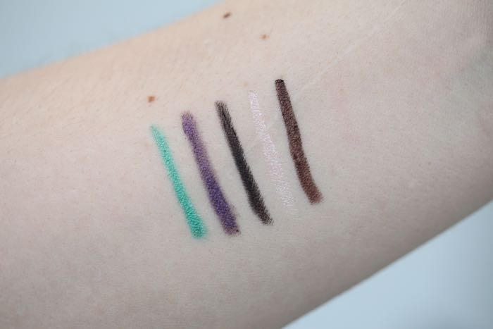 Highliner Gel Eye Crayon swatches from left to right: Intro(Vert), Plum(Age), Blacquer, Obey-Ge and Ro-Cocoa