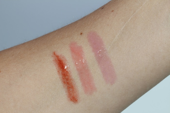 Volupte Tint-in-oil Swatches from left to right: No. 1 Drive Me Copper, No. 6 Peach Me Love, and No. 8 Pink About Me
