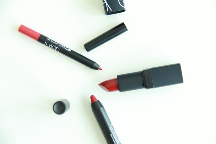 Mysterious Red Velvet Matte Lip Pencil (bottom), Flamenco (middle), and Misdemeanor Lip Liner (top)