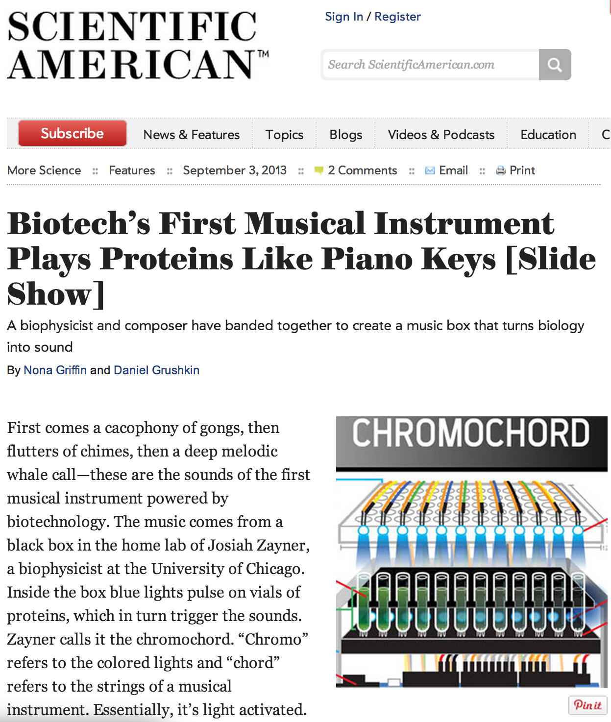 Chromochord featured in Scientific American
