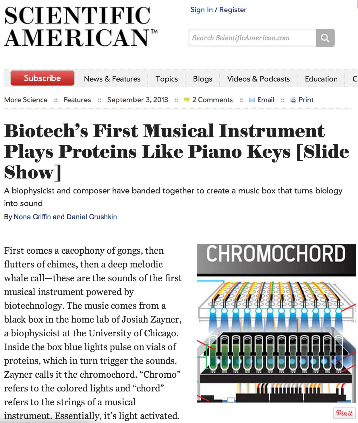 Chromochord featured in Scientific American