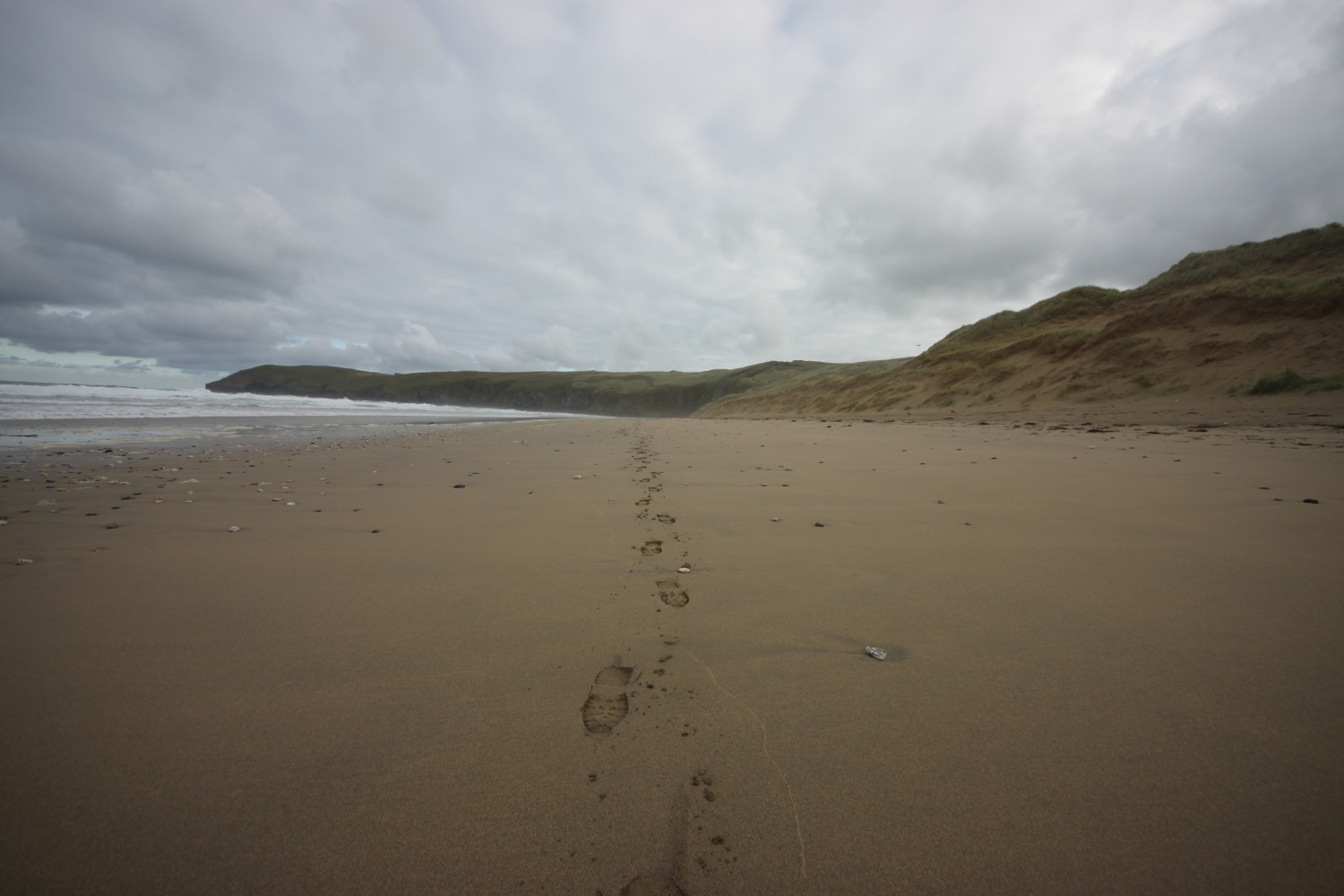 footsteps on perran beach