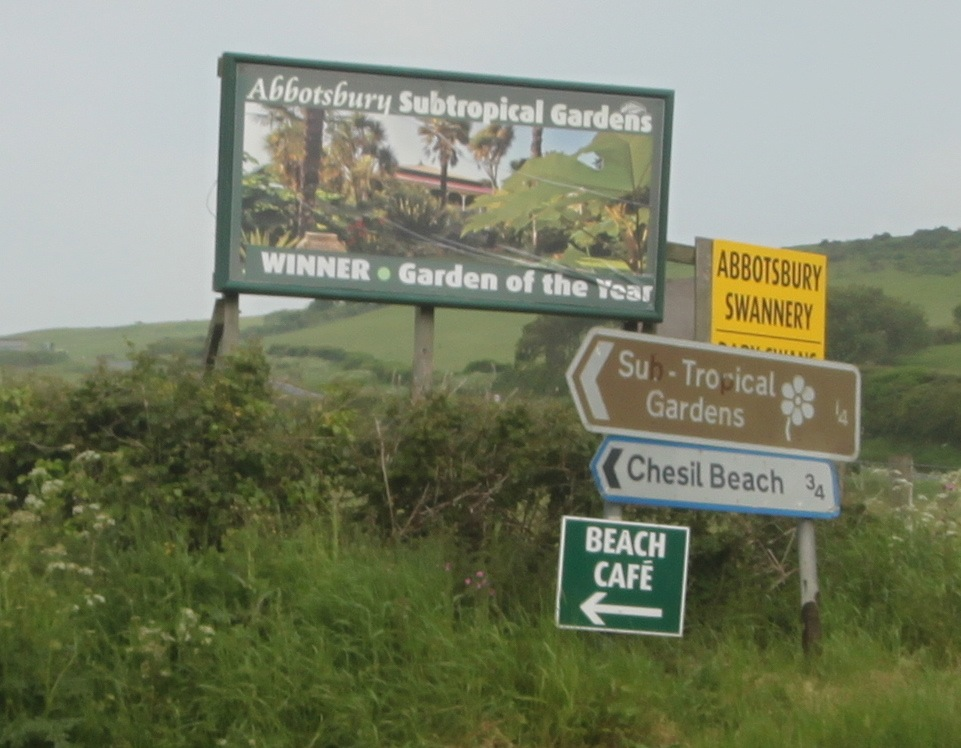 sign for chesil beach