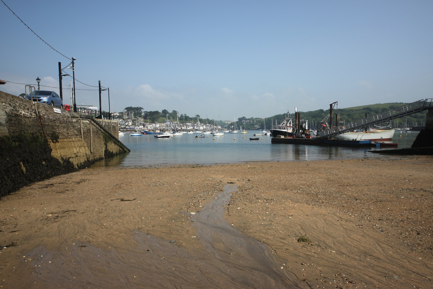 sandy beach at polruan quay