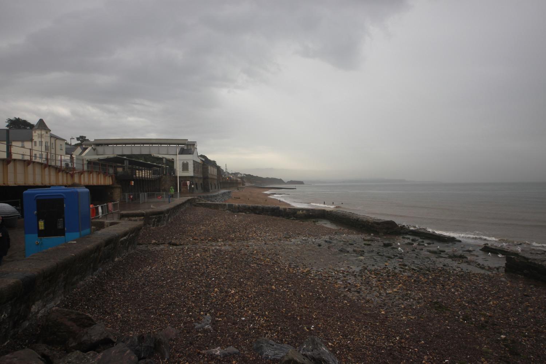 dawlish beach in the rain