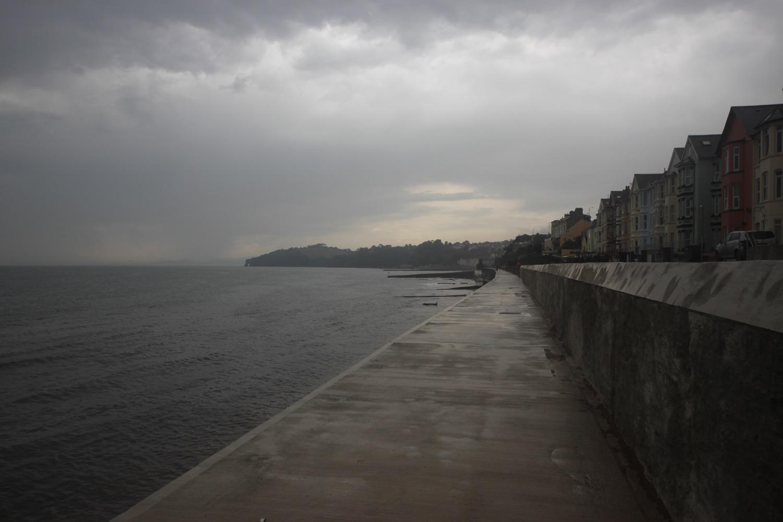 a damp dawlish sea wall