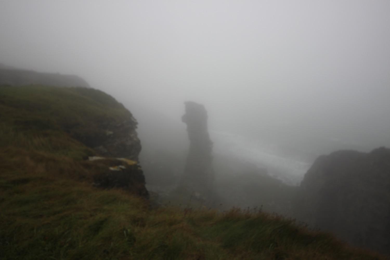 foggy sea stack