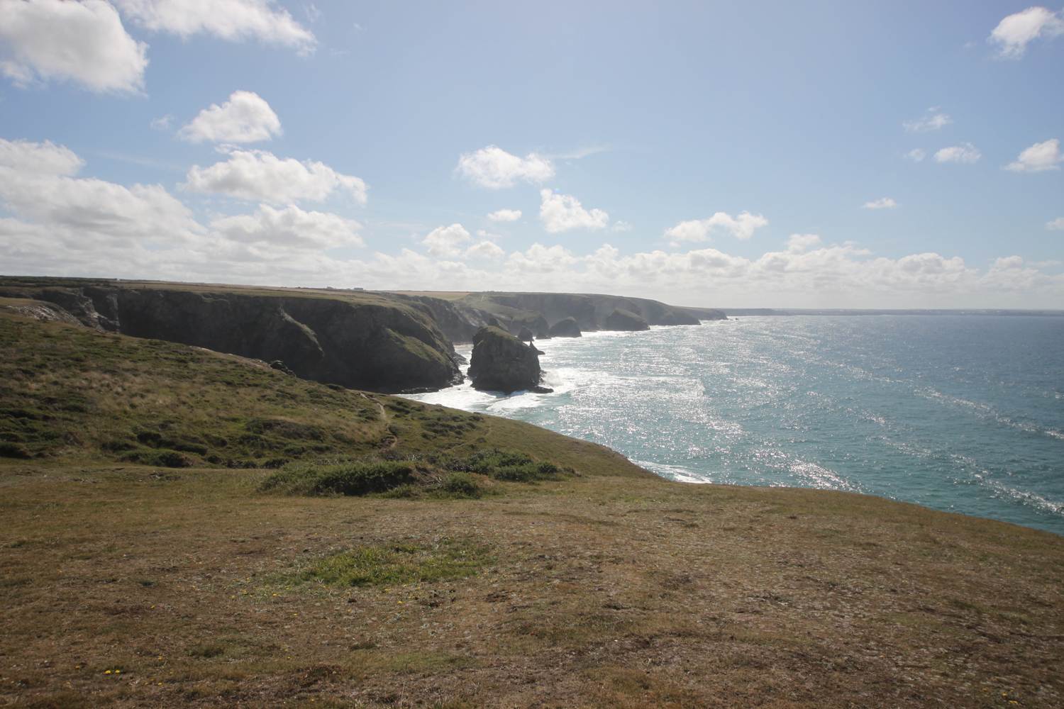 view over bedruthan steps