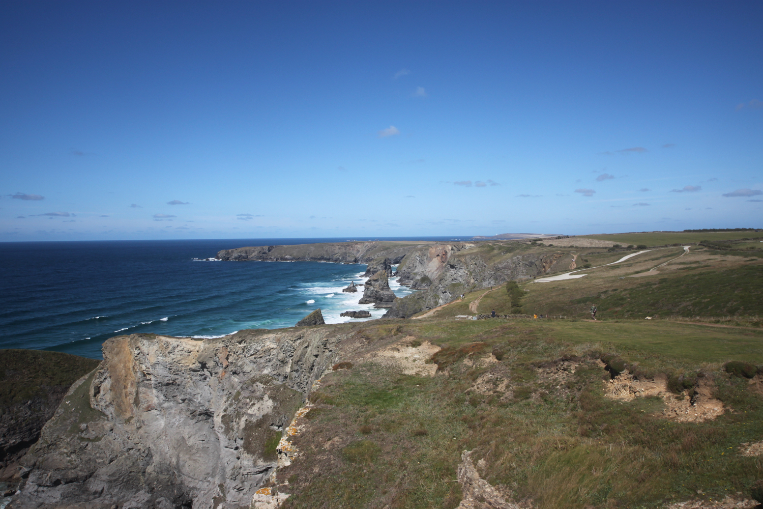 view back over bedruthan steps