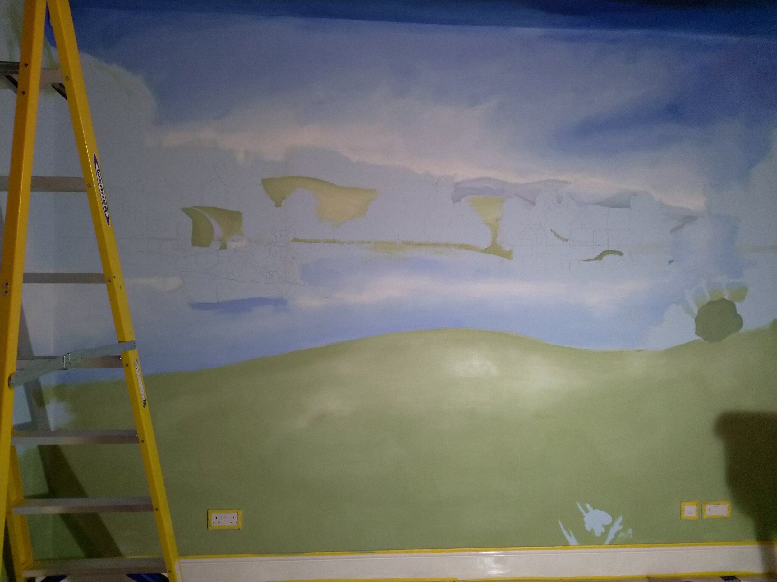 Painting in Progress - Blocking in Colours