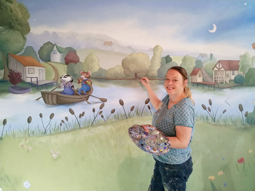 Painting Fern Hollow inspired mural