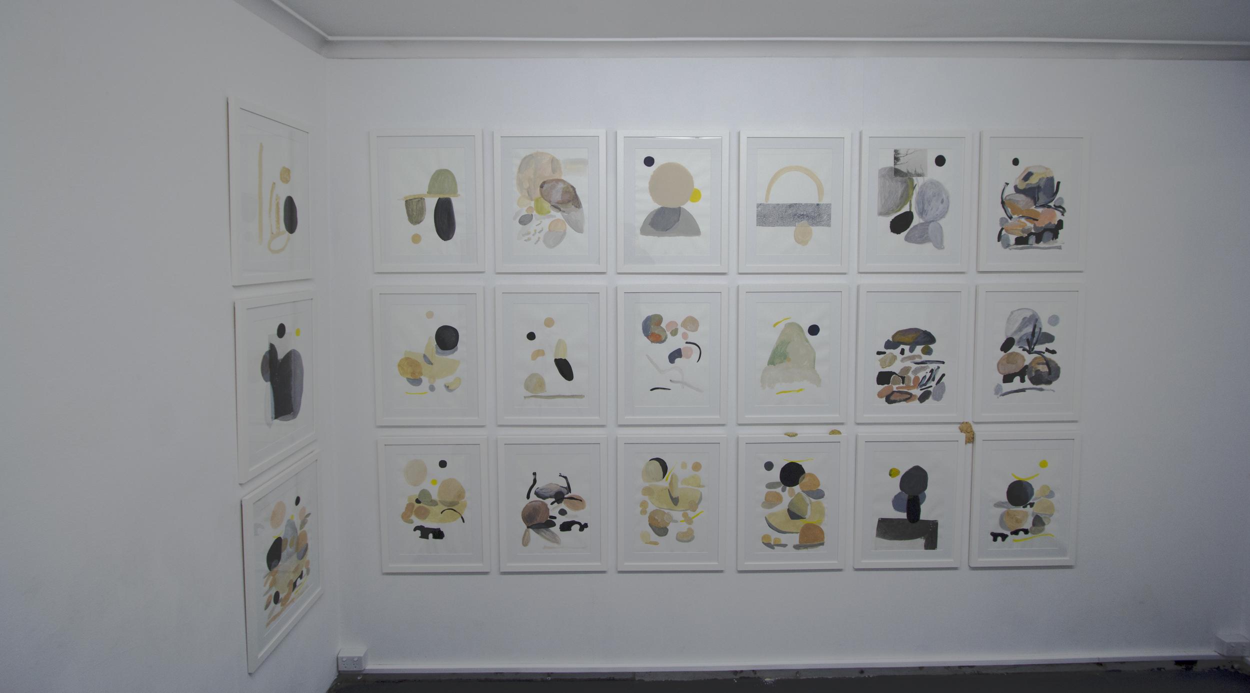 All framed works on paper, 50cm x 63 cm