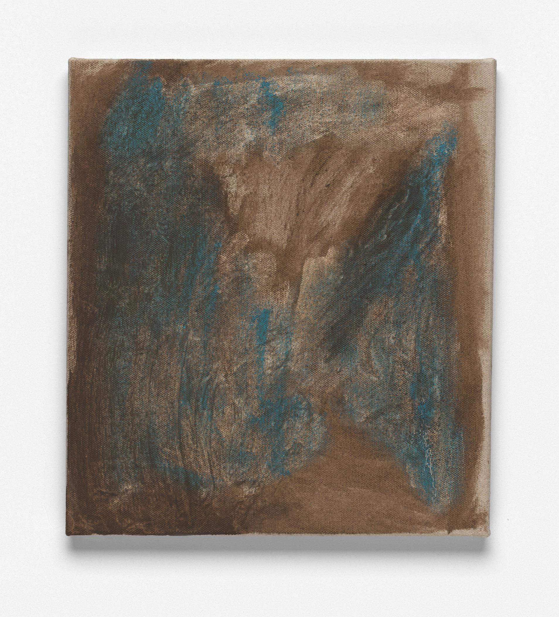 After L'Été 9 (brown on blue), Oil on Linen, 46 x 41cm, 2018. Photograph by Matthew Stanton.