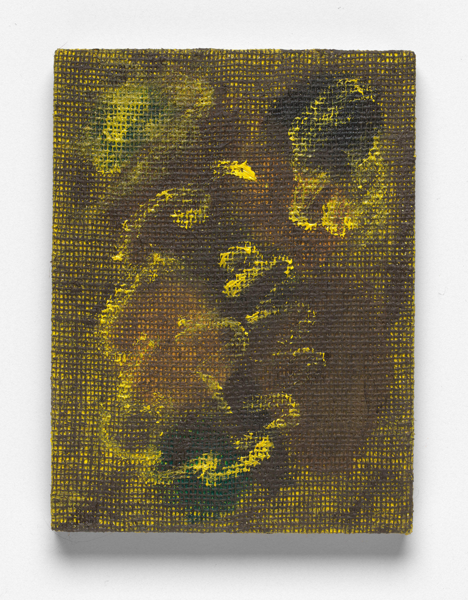 After L'Été 2 (yellow on brown), Oil on Hessian on Board, 30 x 23cm, 2019. Photograph by Matthew Stanton.