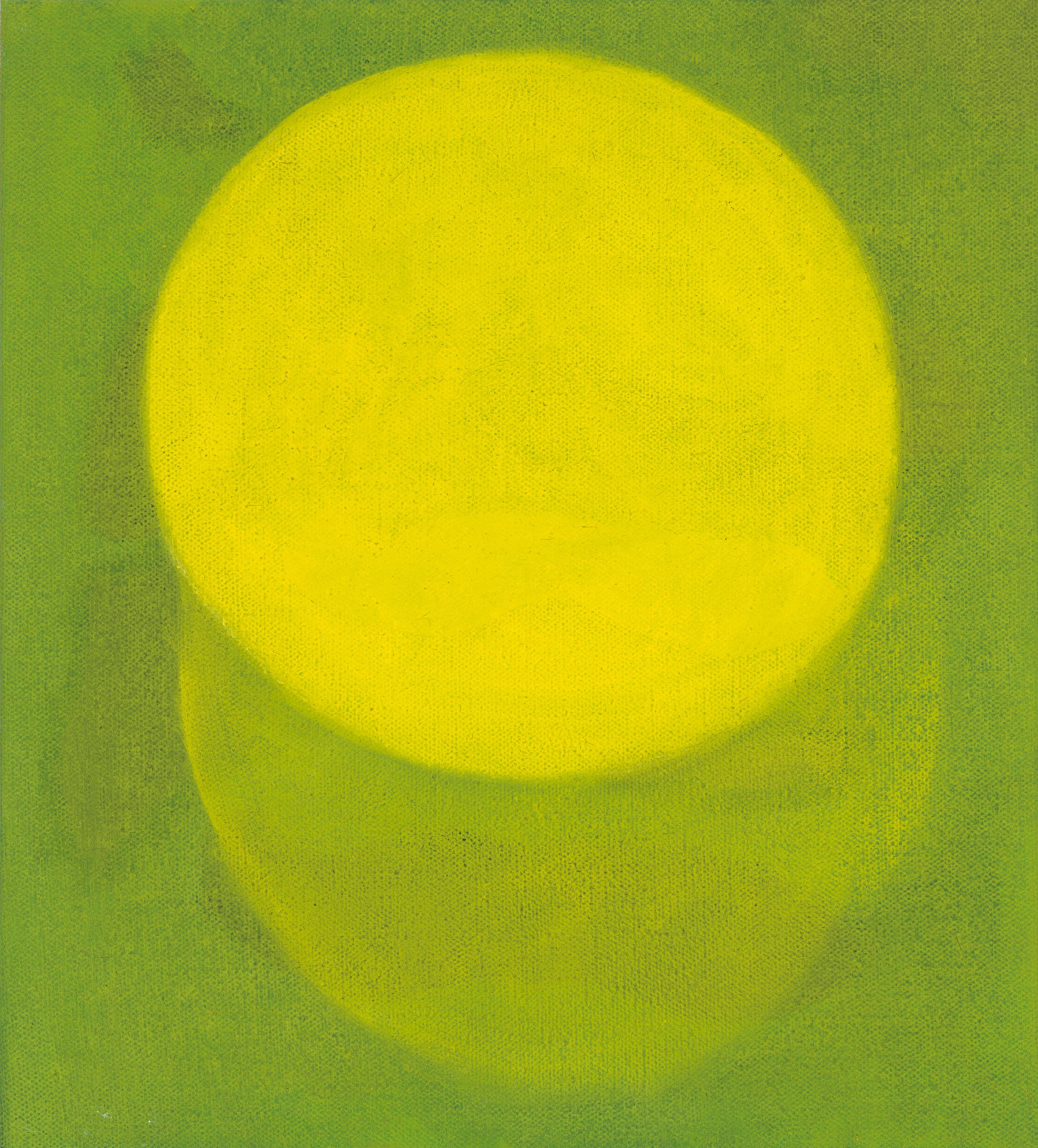 Sunlight Through the Golden Elm on the top lawn of Delara. 2019, oil on linen, 46 x 41 cm.