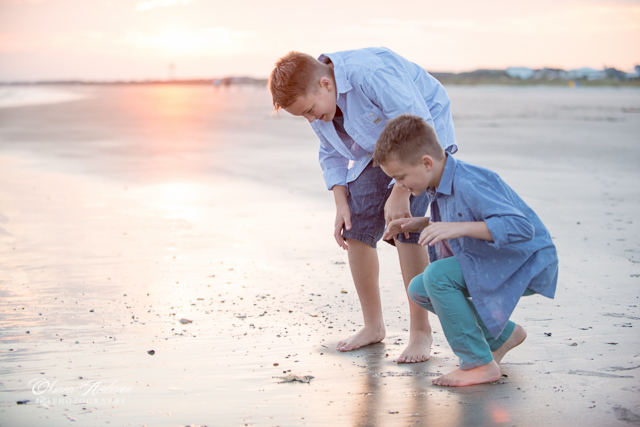 Beach fun boys starfish family session