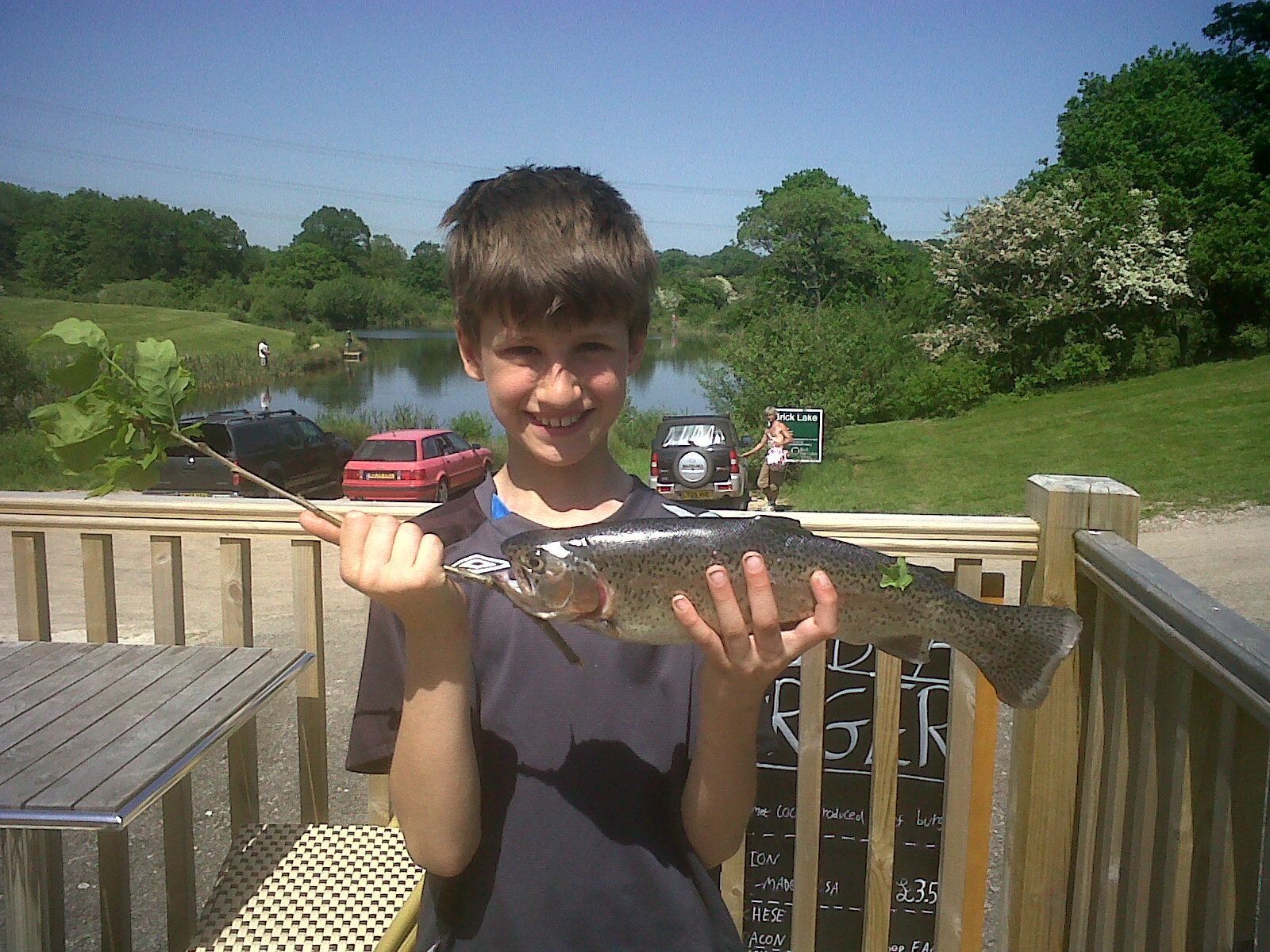 Victor Mario at Brick Farm Lakes catches his first ever rainbow trout