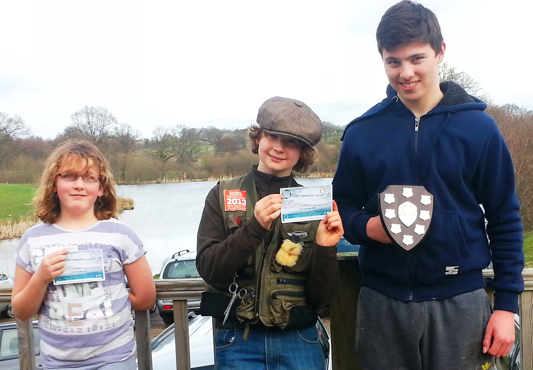 Sam Tester (aged 14 on right)      winner of Junior Troutmasters final