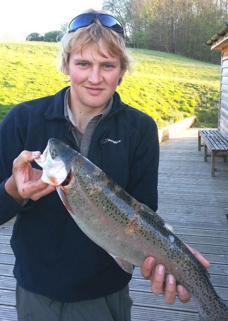 George Cyster from Ridgewood bags this 4lb 8oz rainbow using a Buzzer