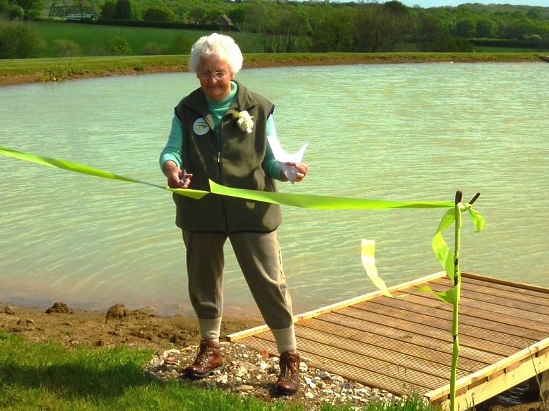 Mary Carden opening the new Stag Lake