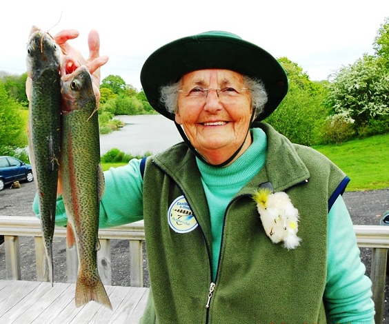 Mary Carden catches first fish from Stag Lake