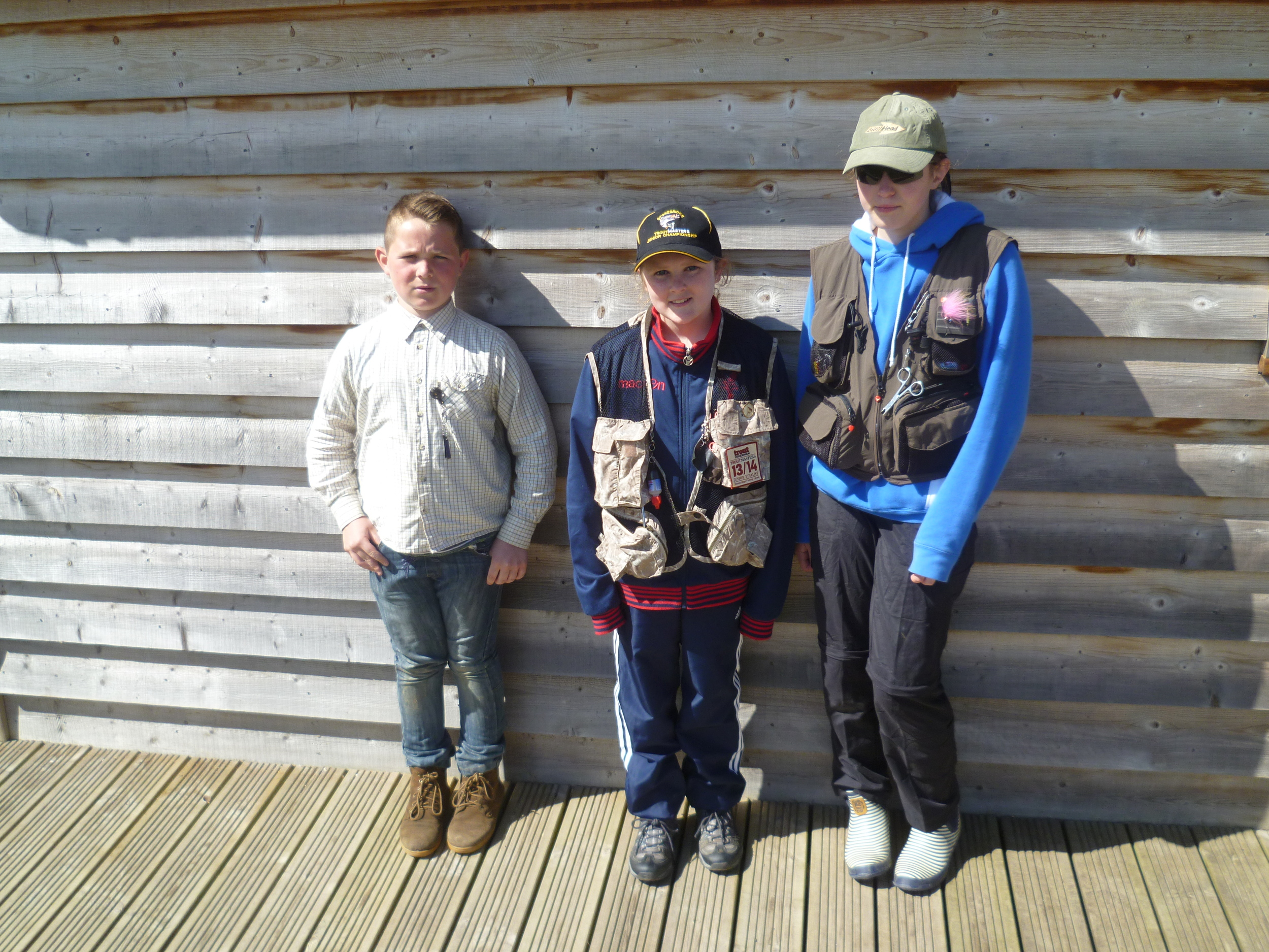 Troutmasters Juniors Final Peter Verity Rosie Weight and Cerys Rogers 12.4.15.JPG