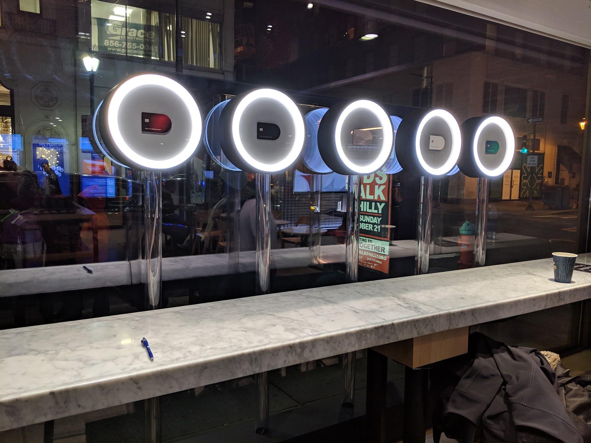 2 sets of ring lights adorned the cafe windows.