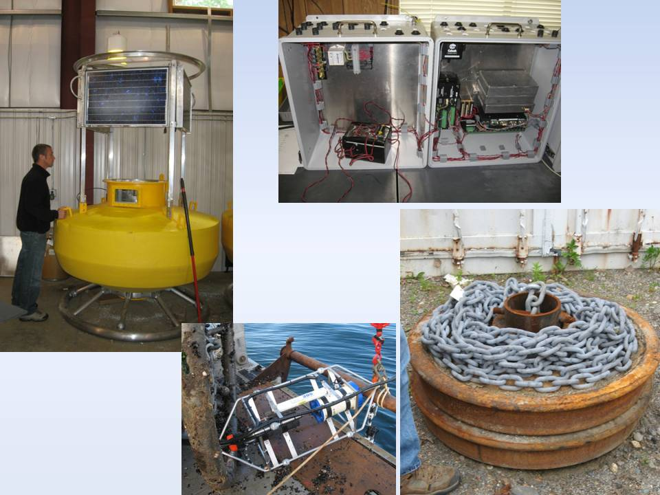 THE SYSTEM'S BUILDING BLOCKS: (clockwise from top left) Buoy during final stages of construction; the datalogger enclosure that resides inside the buoy well; railroad car wheels and chain that anchor the system; the cage and doppler payload suspended immediately below the buoy.