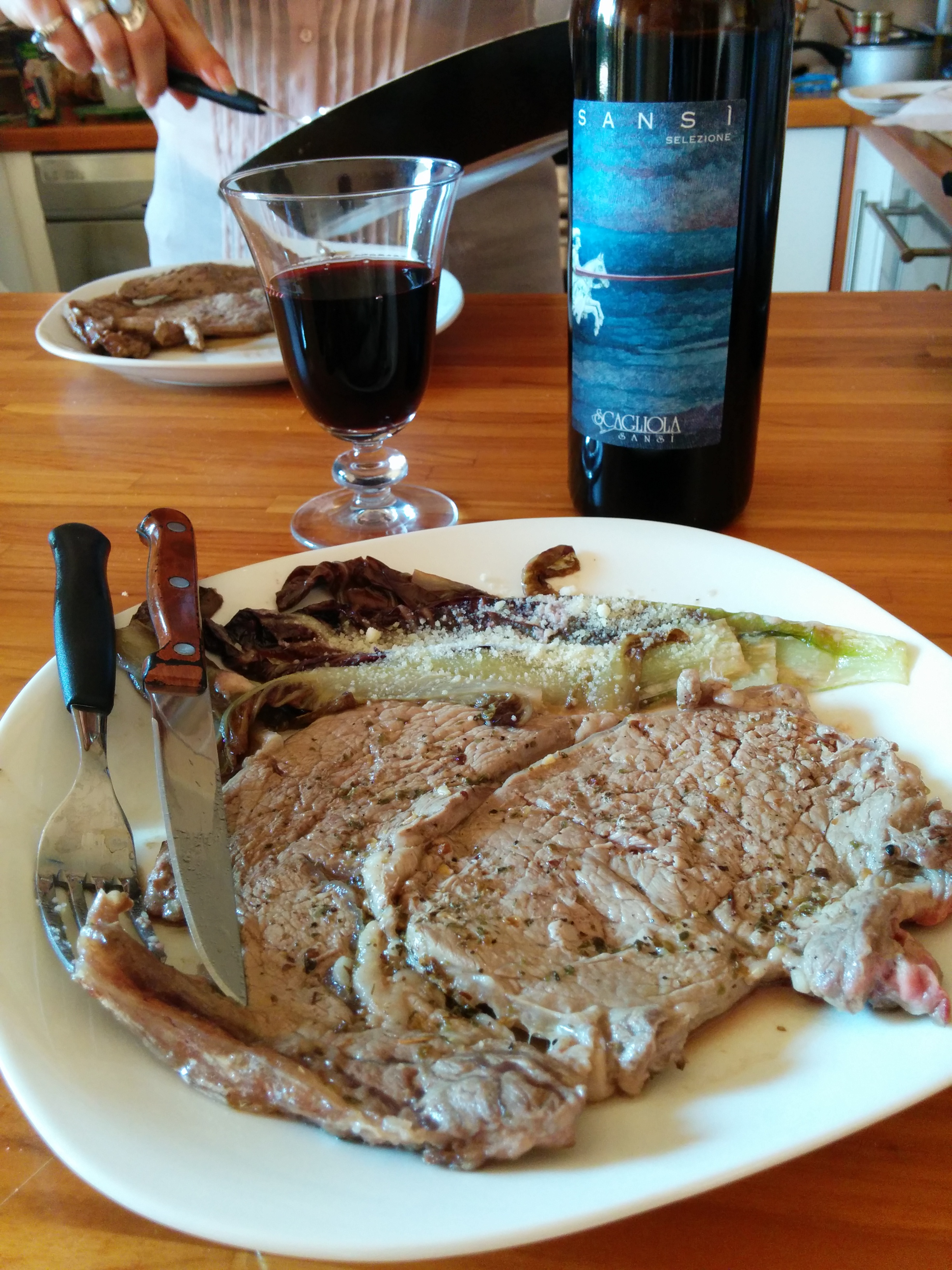 Felizzano (AL): Steak made of Fassona beef from Macelleria Canobbio paired with an amazing Barbera d'Asti Superiore from Sansì