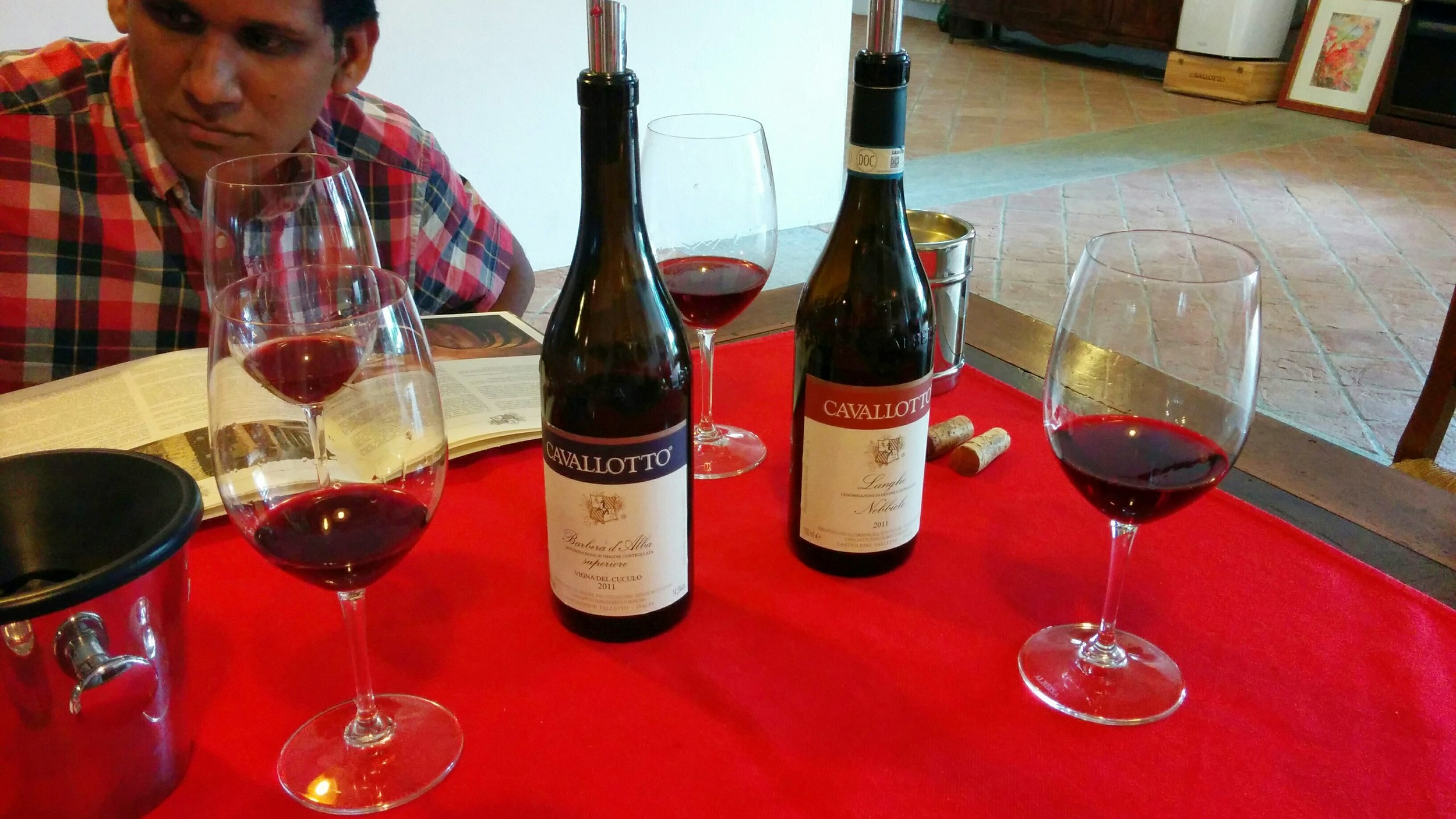 Castiglione Falletto (CN): Toney enjoying his morning wine tasting at   Cavallotto