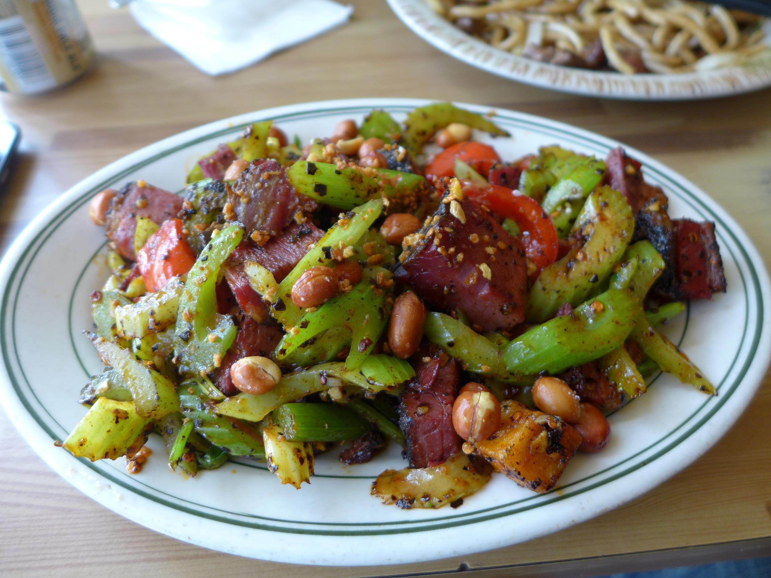 Kung Pao Pastrami with explosive chili, celery, potato, roasted peanut
