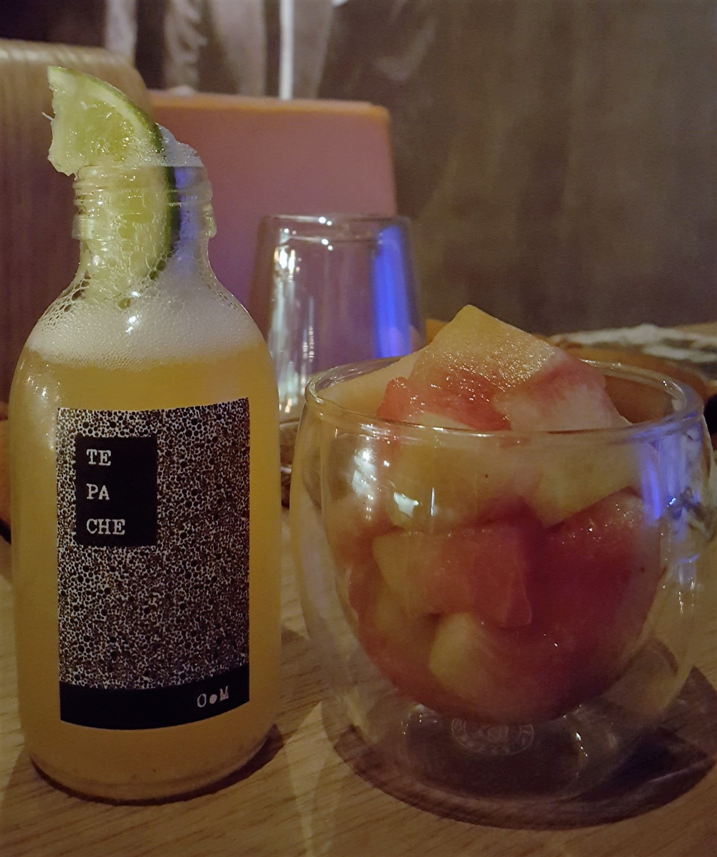 Tepache: 7 day fermented pineapple beer, served with pickled watermelon rind