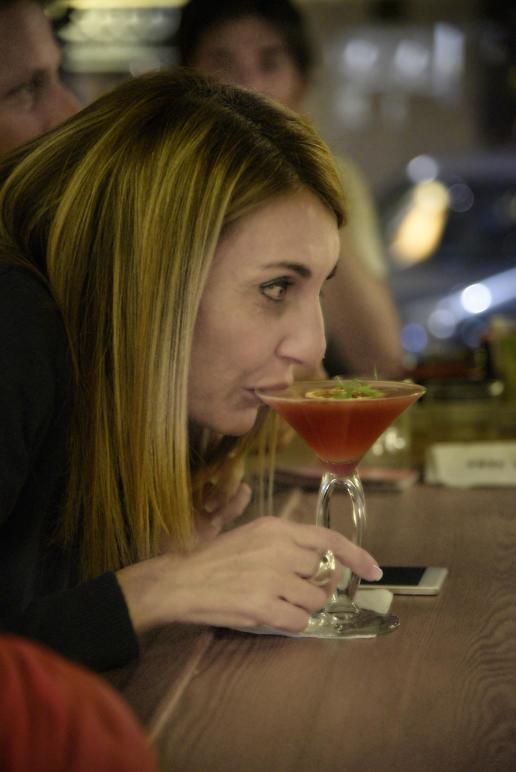 Viviana sips a Negretti