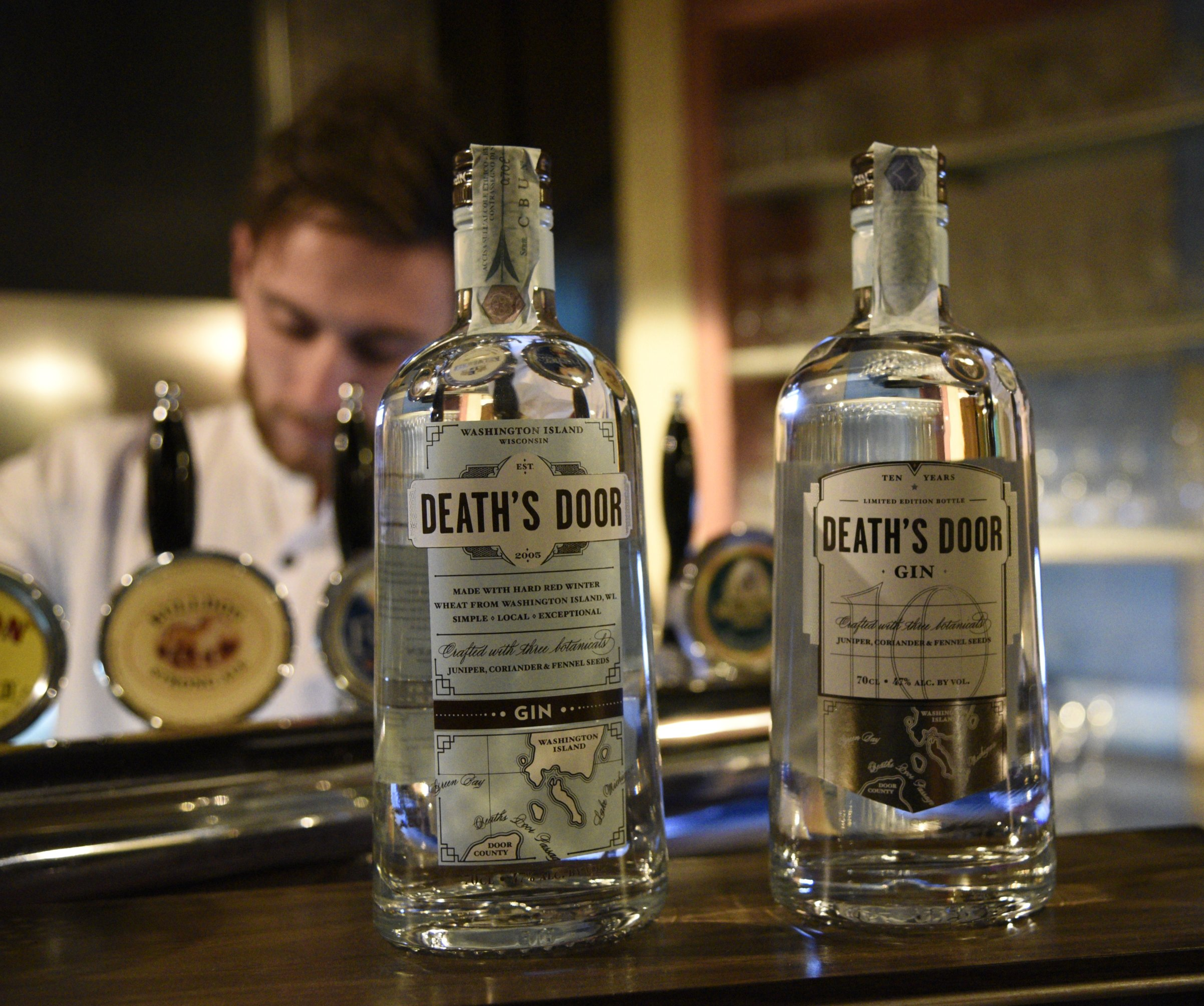 Death's Door gin and its 10 year anniversary bottle