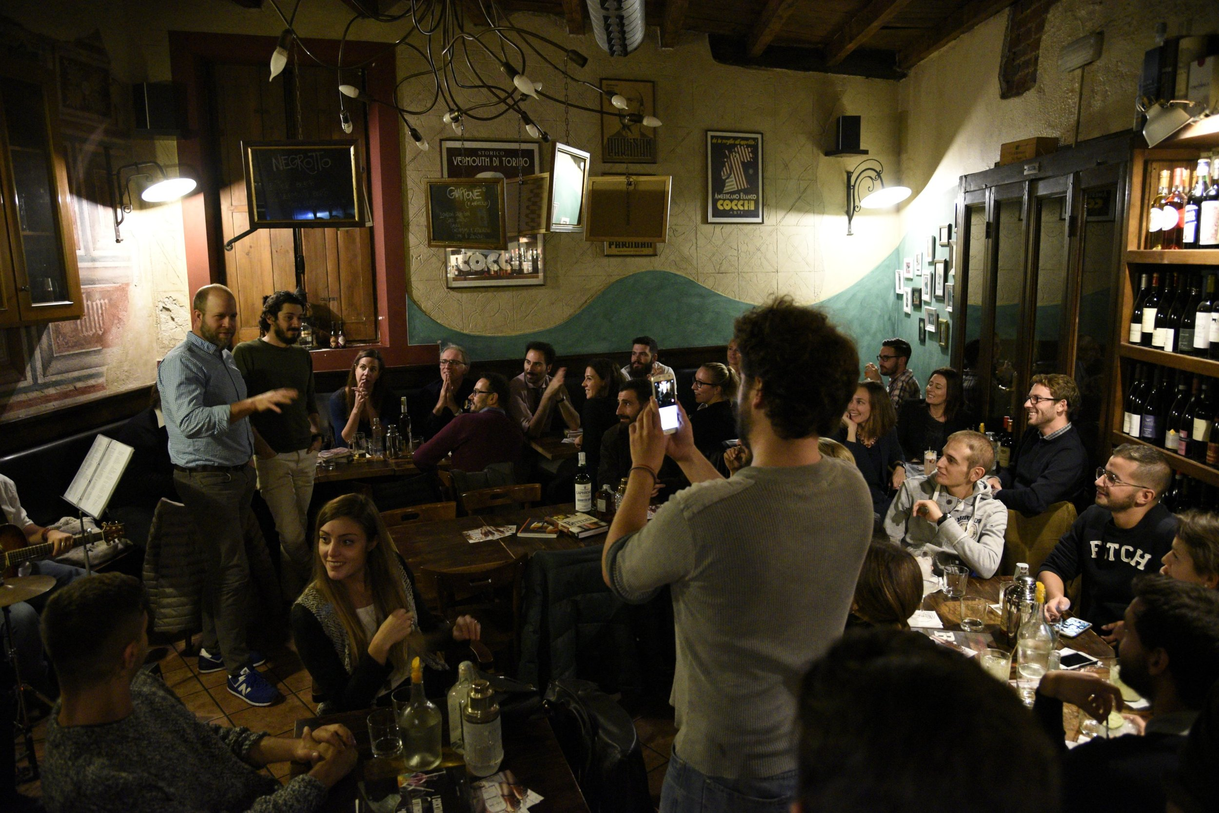 Brian tells the story of Death's Door to the crowd at BarCastello